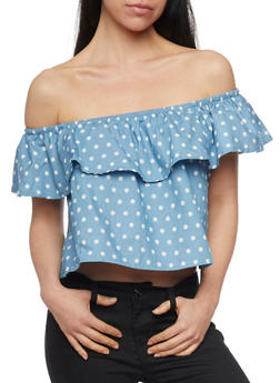 Off the Shoulder Denim Polka Dot Crop Top with Ruffle Overlay - 1401069395102