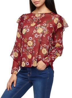 Ruffle Sleeve Floral Chiffon Top - 1401069395152