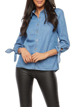 Chambray Button Front Shirt - 1401069395167