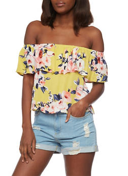 Floral Ruffled Off the Shoulder Top - 1401069395327