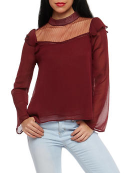 Sheer Yoke Ruffled Long Sleeve Blouse - 1401069396005
