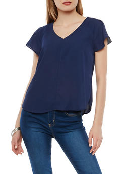 Short Sleeve Crepe Knit Top - 1401069396017