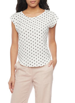 Polka Dot Top with Shoulder Tabs - 1401069396401