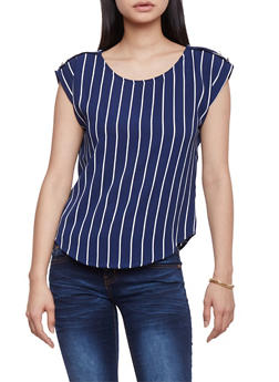Striped Crepe Top with Faux Button Tabs - 1401069396402