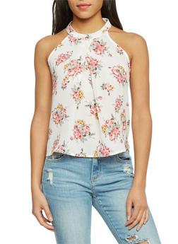 Sleeveless Floral Crepe Knit Top - 1401069397191