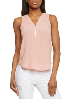 Crepe Knit Sleeveless Top with Zippered V Neck - MAUVE - 1401069397393