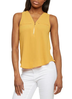 Crepe Knit Sleeveless Top with Zippered V Neck - MUSTARD - 1401069397393