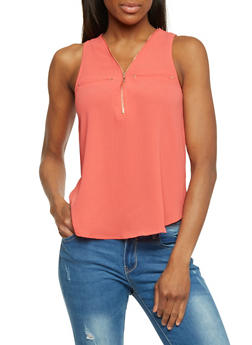 Crepe Knit Sleeveless Top with Zippered V Neck - 1401069397393