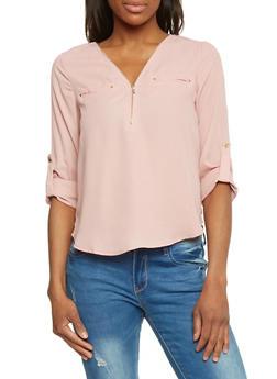 Zip V Neck Rolled Sleeve Blouse - 1401069397503