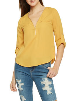 Zip V Neck Rolled Sleeve Blouse - MUSTARD - 1401069397503