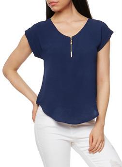 Solid Crepe Knit Zip Top - 1401069397505