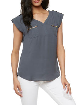 V Neck Top with Tabbed Cap Sleeves - 1401069397613