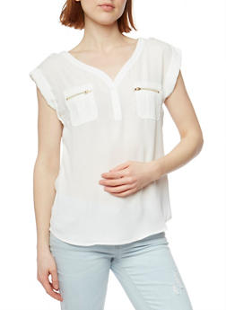 V Neck Top with Tabbed Cap Sleeves - OFF WHITE - 1401069397613