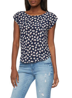 Short Sleeve Tabbed Floral Top - 1401069397685