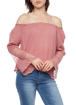 Off the Shoulder Peasant Top with Lace Sleeves - 1401069397732