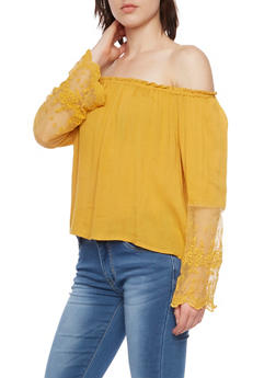 Off the Shoulder Peasant Top with Lace Sleeves - MUSTARD - 1401069397732