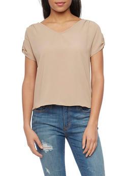 Tab Short Sleeve High Low Crepe Top - 1401069397741