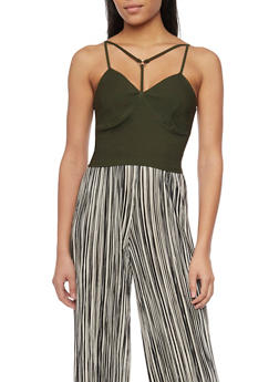 Strappy Sleeveless Crop Top with Zip Back - 1401069398023