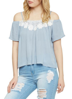 Cold Shoulder Top with Crochet Detail Yoke - 1401069398035