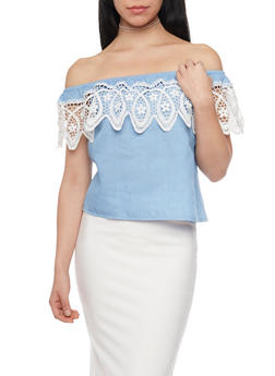 Off The Shoulder Crocheted Trim Chambray Top - 1401069398065