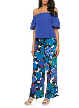Off the Shoulder Top with Flared Sleeves - 1401069398069