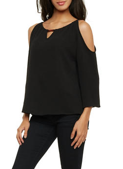 Cold Shoulder Top with Metallic Bar Accent - 1401069398082