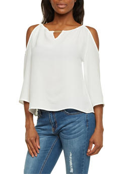 Cold Shoulder Top with Metallic Bar Accent - OFF WHITE - 1401069398082