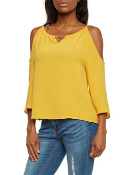 Cold Shoulder Top with Metallic Bar Accent - MUSTARD - 1401069398082