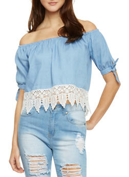 Crocheted Trim Off The Shoulder Chambray Crop Top - 1401069398127