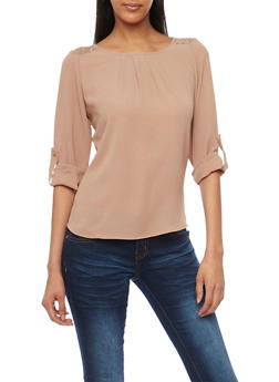 3/4 Sleeve Crepe Top with Back Lace Panel - 1401069398145