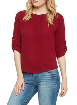 3/4 Sleeve Crepe Top with Back Lace Panel - WINE - 1401069398145