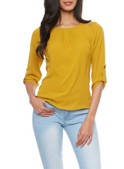 3/4 Sleeve Crepe Top with Back Lace Panel - MUSTARD - 1401069398145