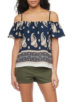 Crepe Cold Shoulder Paisley Top with Flutter Sleeves - 1401069398162