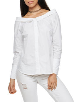 Off the Shoulder Button Front Top - 1401069398166