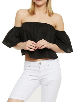Off the Shoulder Ruffled Crop Top - 1401069398201