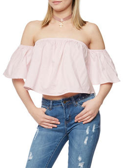 Off the Shoulder Ruffled Crop Top - BLUSH - 1401069398201