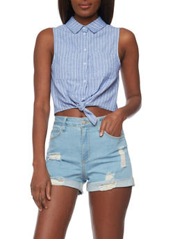 Striped Sleeveless Chambray Crop Top with Front Tie - 1401069398206