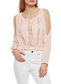 Off the Shoulder Crochet Insert Top - 1401069398257