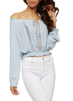 Off the Shoulder Crochet Insert Top - 1401069398257