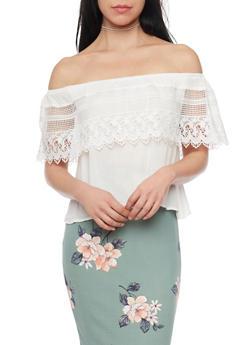 Crochet Overlay Crepe Knit Off The Shoulder Top - 1401069398262