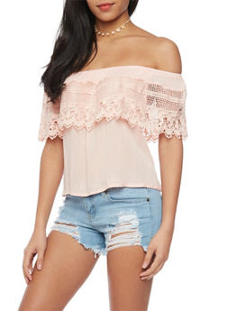 Crochet Overlay Crepe Knit Off The Shoulder Top - 1401069398262