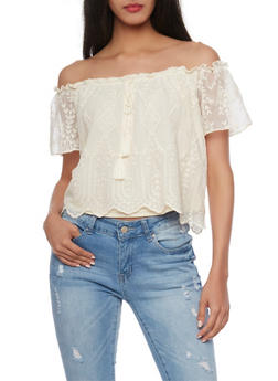 Embroidered Off the Shoulder with Bell Sleeves - 1401069398270