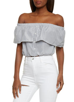 Striped Off the Shoulder Crop Top with Ruffle Overlay - 1401069398278
