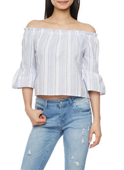 Striped Off The Shoulder Bell Sleeve Top - 1401069398290
