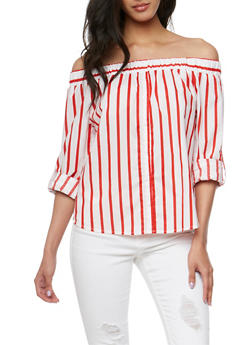 Striped Long Sleeve Off the Shoulder Top - 1401069398361
