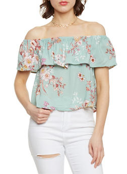 Floral Off the Shoulder Top with Ruffle Overlay - 1401069398403