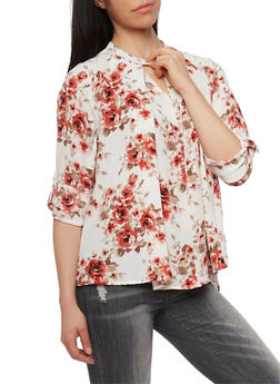 Floral Snap Collar Blouse - 1401069398404