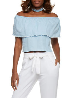 Off The Shoulder Frayed Denim Crop Top - 1401069398411