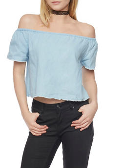Off the Shoulder Chambray Top with Frayed Hem - 1401069398412