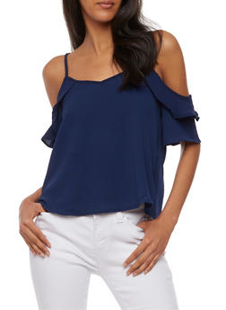 Ruffled Cold Shoulder Top with Caged V Back - 1401069398534